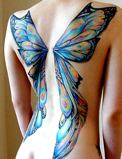 Different butterfly wings are tattooed on the backs of every girl by their kidnapper before becoming an official  Butterfly .