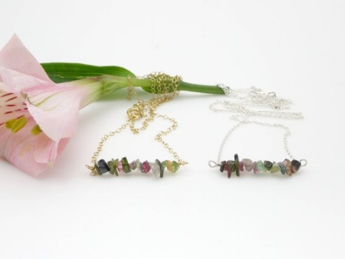 Tourmaline Bar Necklace [$18] by way of   Cynthia Mae Designs