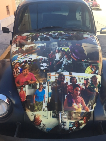 What better place for a family album than on your Bug! Merida is full of Volkswagon Beetles, but this one wears its heart on its hood.