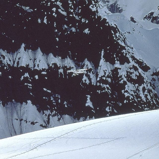 Look closely! Solo landing in the Super Cub on Ruth Glacier.