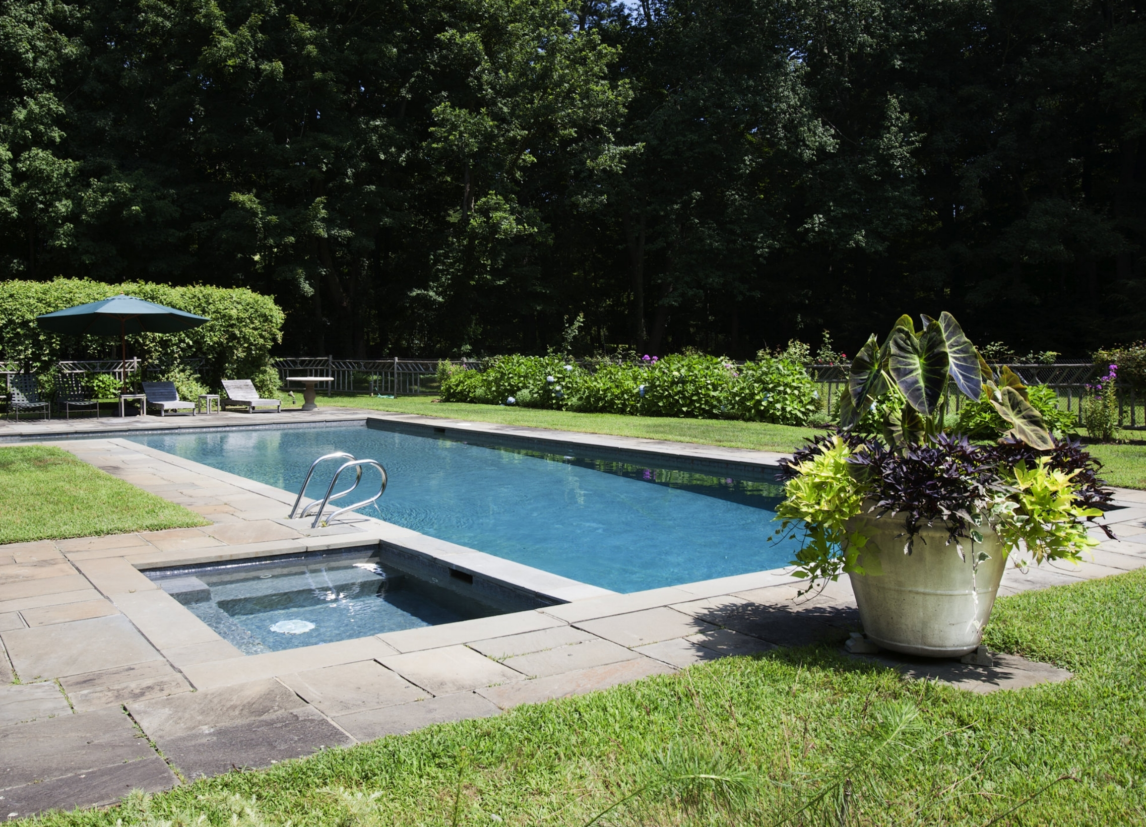 : Landscape and garden design around pool in backyard.