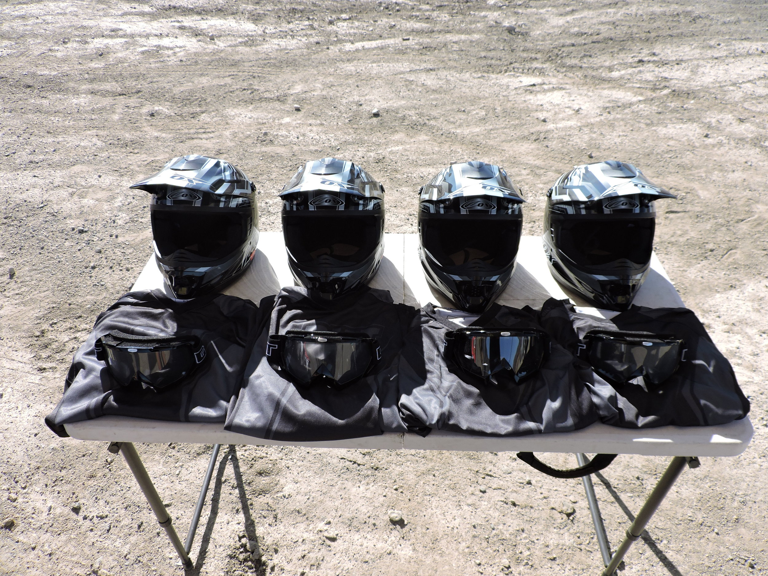 Full set of safety gear available for every rider