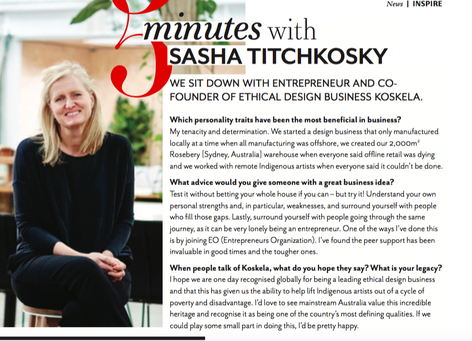 CEO Magazine - An interview with Koskela owner, Sasha Titchovsky ...Click here to read more...