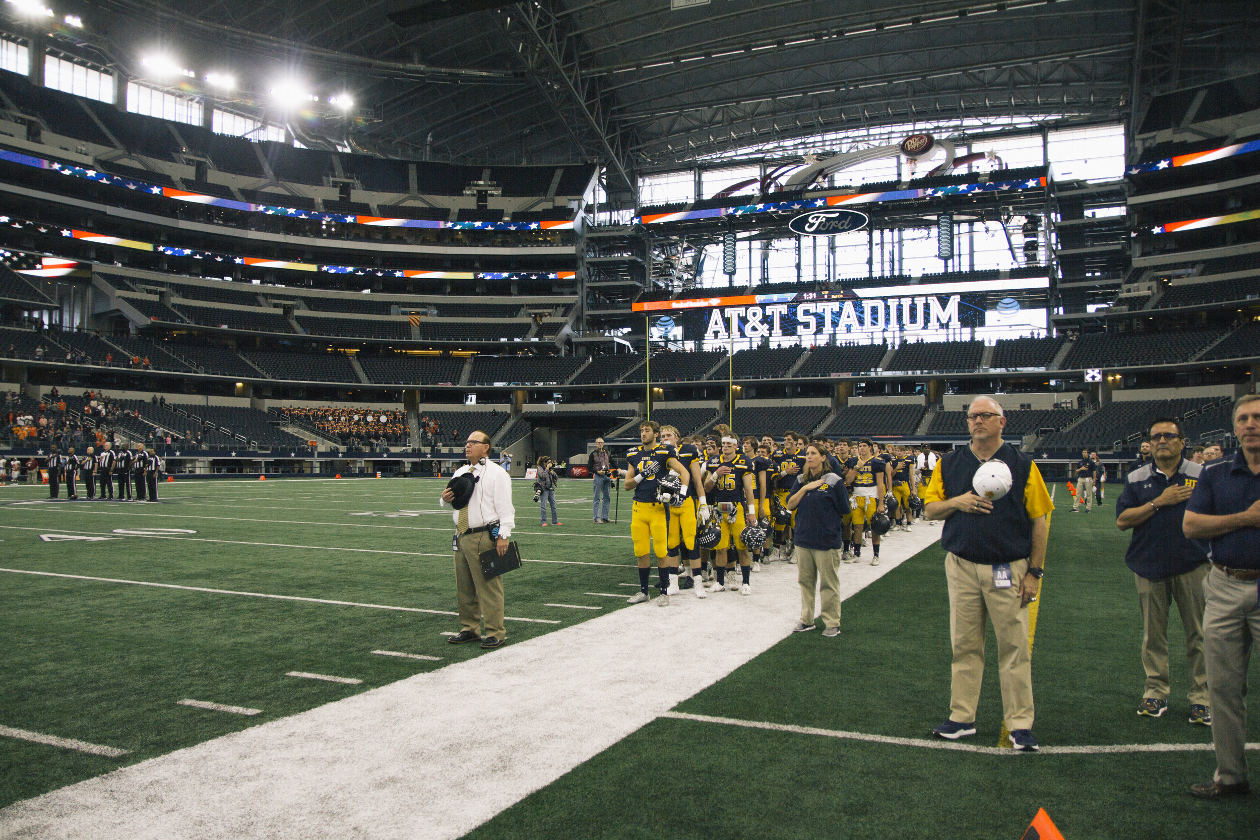Head Coach Randy Allen (white shirt) is the Don Shula National High School Coach Of The Year 2016. He has the 4th most wins of any coach in Texas, 2nd most wins of any active Texas coach and he is one of ten Texas coaches who has won over 300 games and is currently at just over 350! He also coached Matthew Stafford (current QB1 for the Detroit Lions) in 2005 to win the 4A state title.