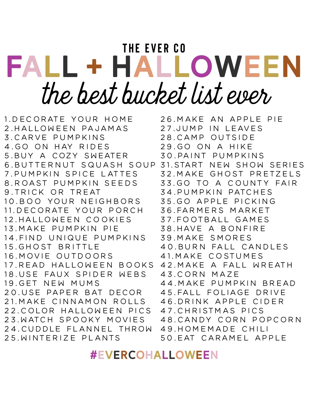 the ever co halloween bucket list