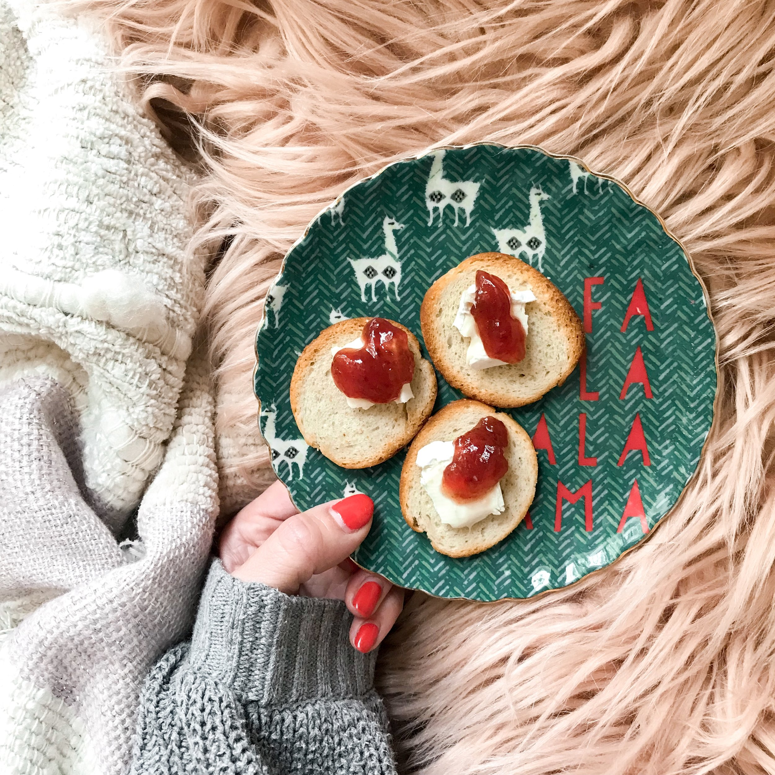 A wonderful Holiday treat: Bagel crisps + creamy brie + Trader Joe's sugar plum jam.  Favorite holiday plates from Anthropologie last season,  but these are cute too!