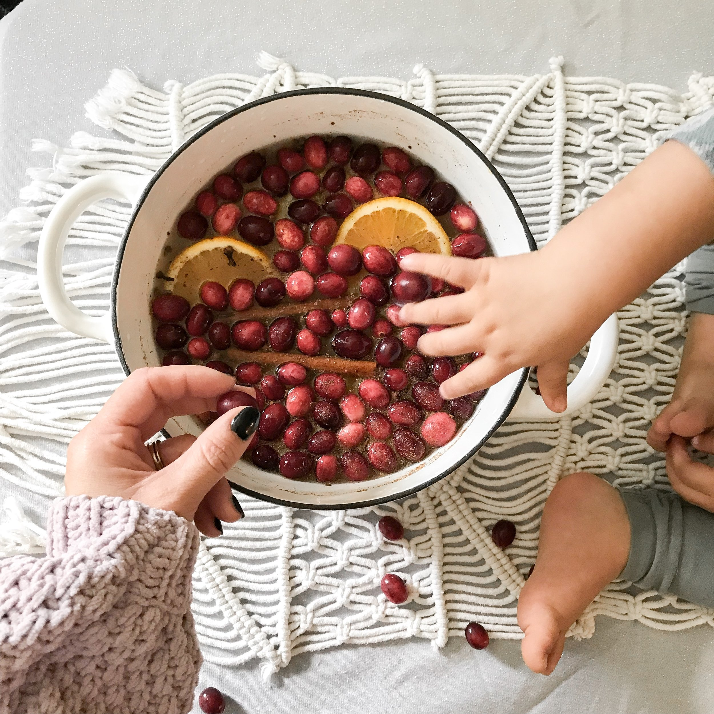 Love the sweet smell of cinammon + cranberries + orange slices + nutmeg + rosemary + clove in our home over the holidays. Just bring to a boil then simmer.