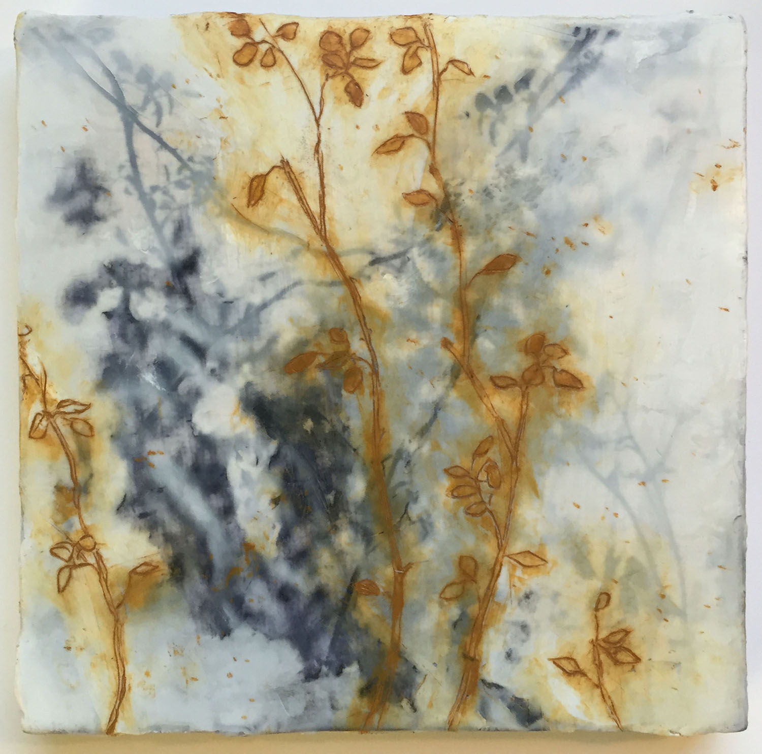 """Shadow on Shadow Encaustic and oil stick on wood panel 8""""x8"""" (in private collection)"""