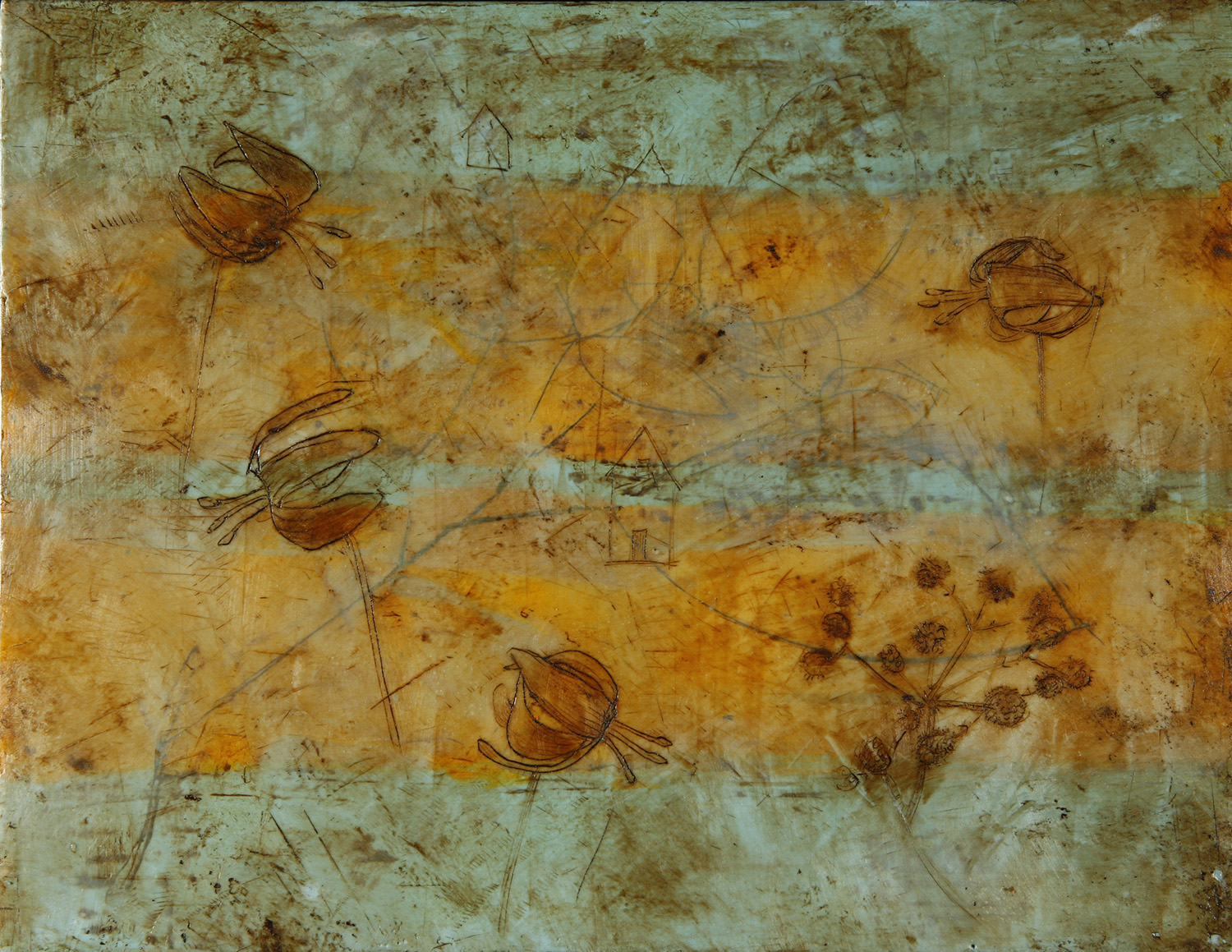 """Autumn Stripes 13""""x9"""" Encaustic and oil stick on wood panel"""