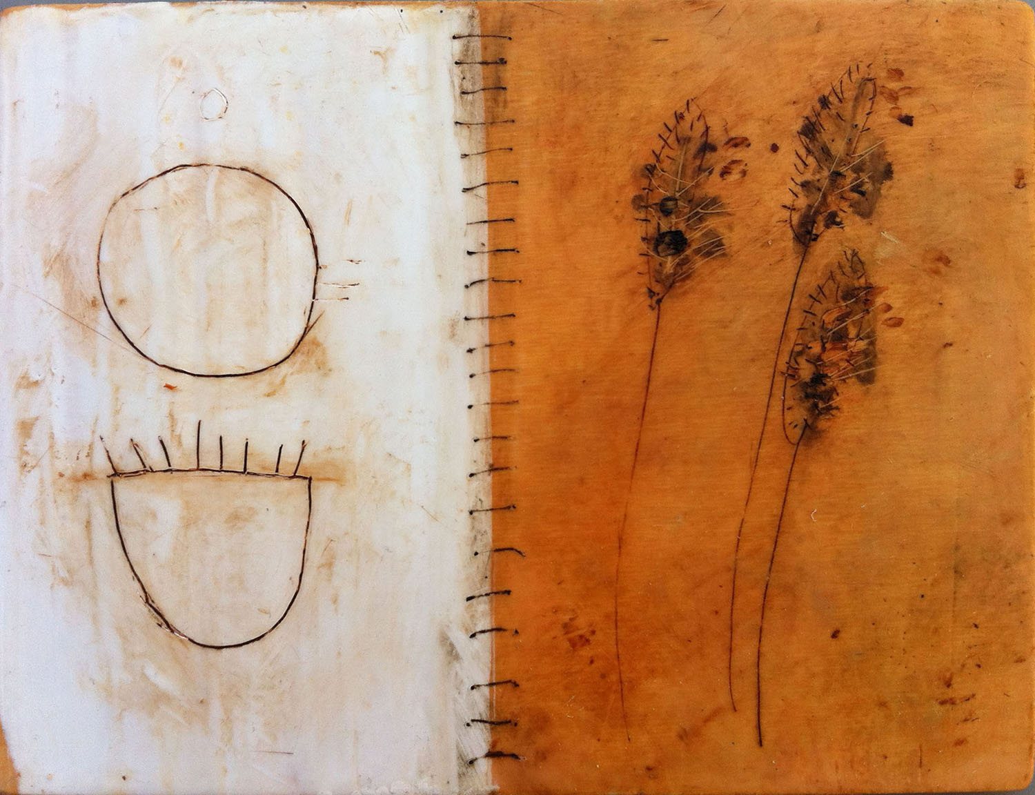 """Ochre Spiral 8""""x7""""Encaustic and oil stick on wood panel"""