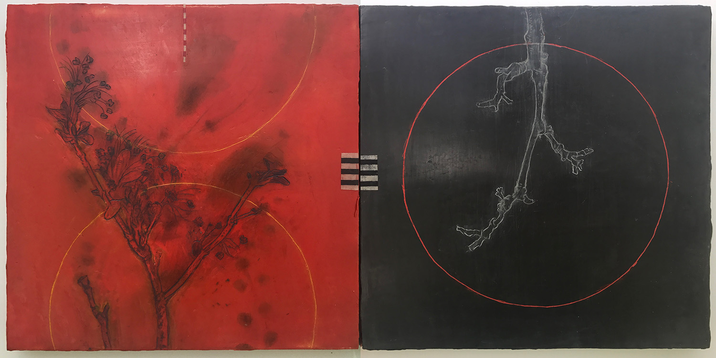 "Sticks and Bones 24""x12""Encaustic,oil sticking paper on wood panels"
