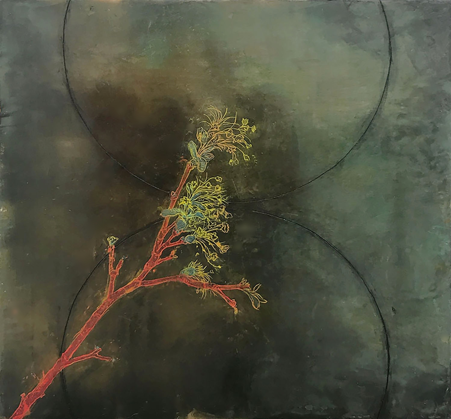"""Spring Branch 18""""x18""""Encaustic and oil stick on wood panel"""