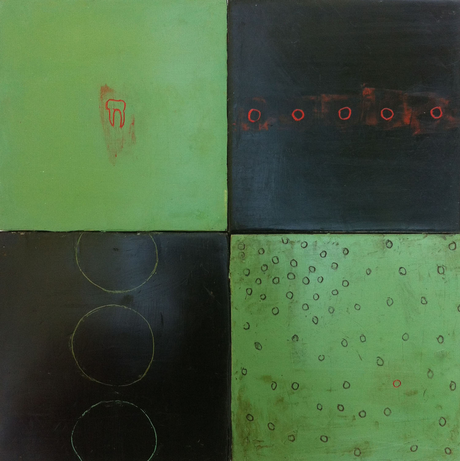 """Red Tooth, Black and Green, 12""""x12"""" Encaustic and oil stick on wood"""