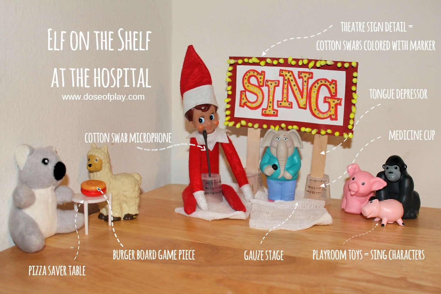 Display of medical art making with Elf on the Shelf: SING MOVIE