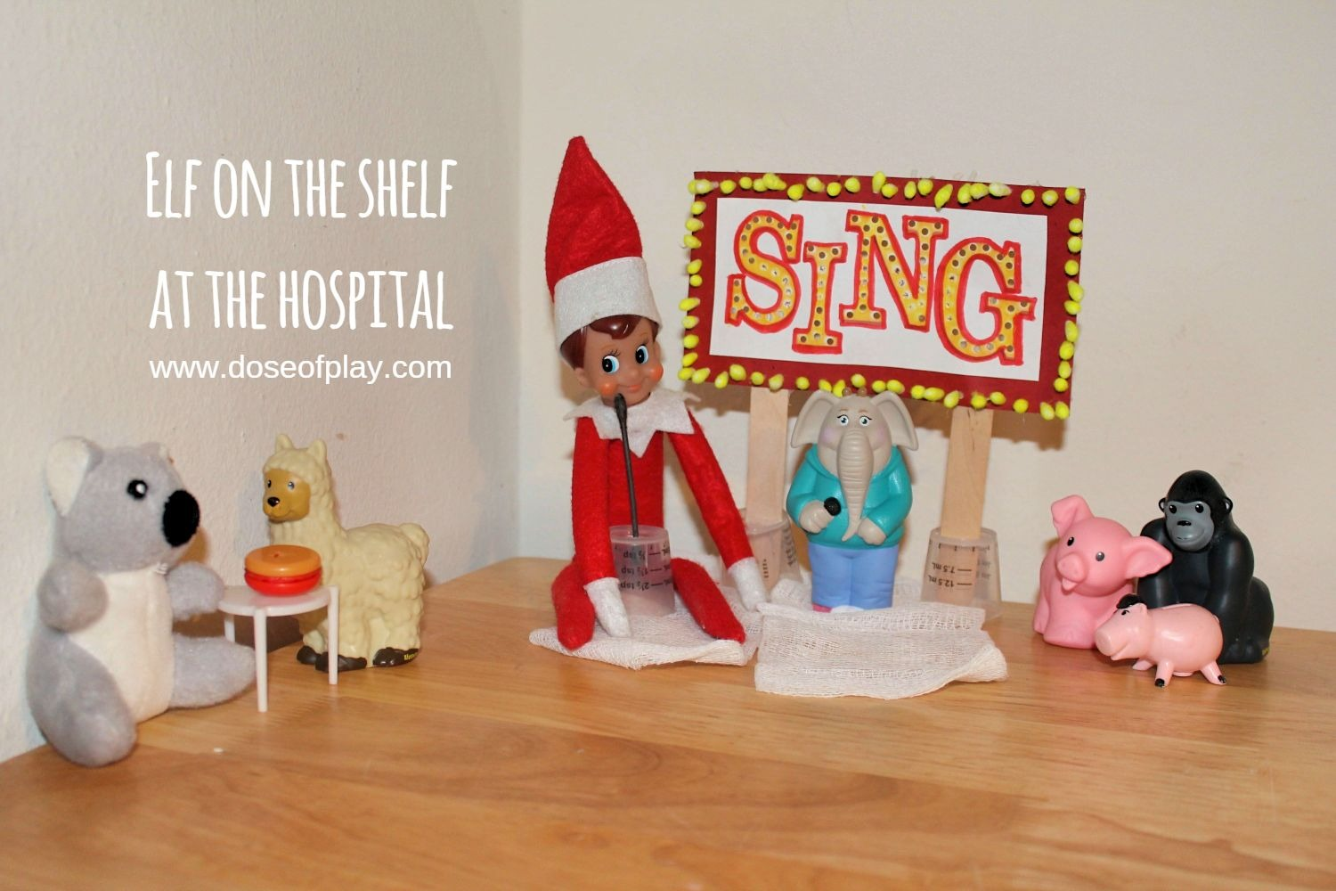 "Elf on the Shelf in the hospital! Create a ""SING"" movie audition using medical items and toys from the hospital playroom! #elfontheshelf #medicalplay #elfontheshelfideas #doseofplay #pediatrics #childlife #childlifespecialist #hospitalfun #holidaytraditions"