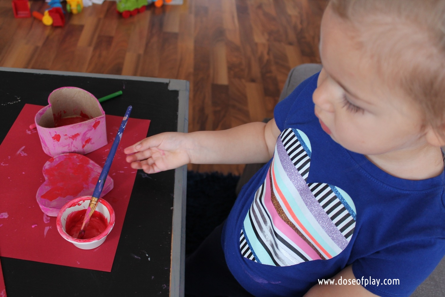 """Separation Anxiety activity for parent and child. Read """"The Kiss Box"""" and each create and exchange heart-shaped boxes to hold each other's kisses. This book and activity softly reminds readers that whether together or apart, love shared with a child goes on and on. #doseofplay #therapeutic play #toddlers #preschool #thekissbox #heartbox #kisses #separationanxiety #firstdayofschool #legacybuilding #parentwithcancer #legacymaking #parentchildbonding #childlife #childlifespecialist #valentinesdaycraft #valentinesday #heartcraft #heartfull"""