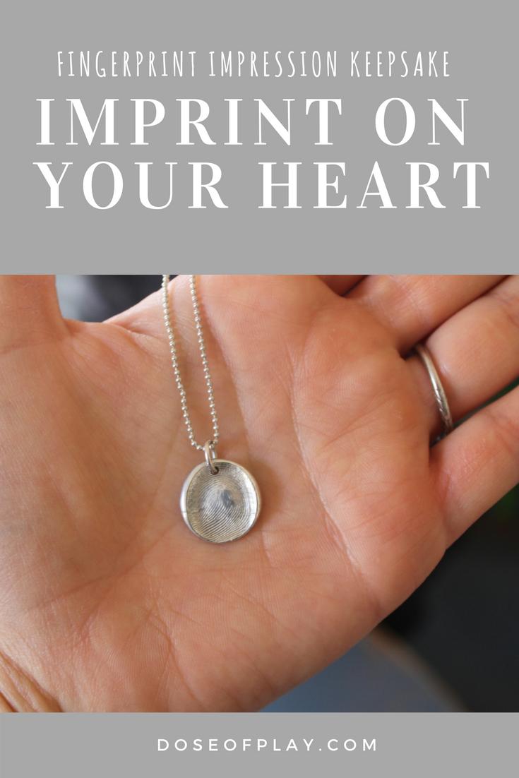 Fingerprint Impression Keepsake leaves an Imprint on your Heart. #keepsake #memento #pendant #doseofplay #jewelry #bereavement #anyoccasion #mothersdaygiftidea #specialkeepsake #uniquegiftidea #giftsforparents #caregivergift