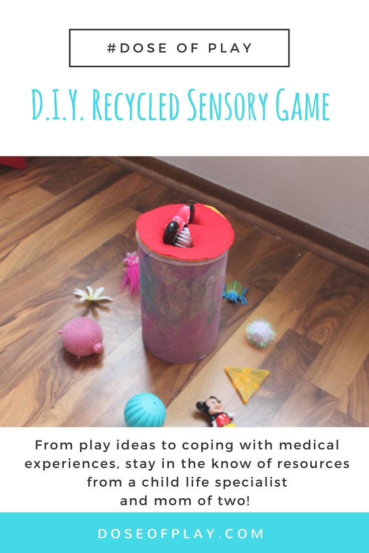 D.I.Y. Recycled Sensory Game #doseofplay #childlifespecialist #recycledplay #diygame #diycraft #sensoryplay #toddler #preschooler #childlife #reuserecycle #recycledplayactivity #earthday #internationalearthday