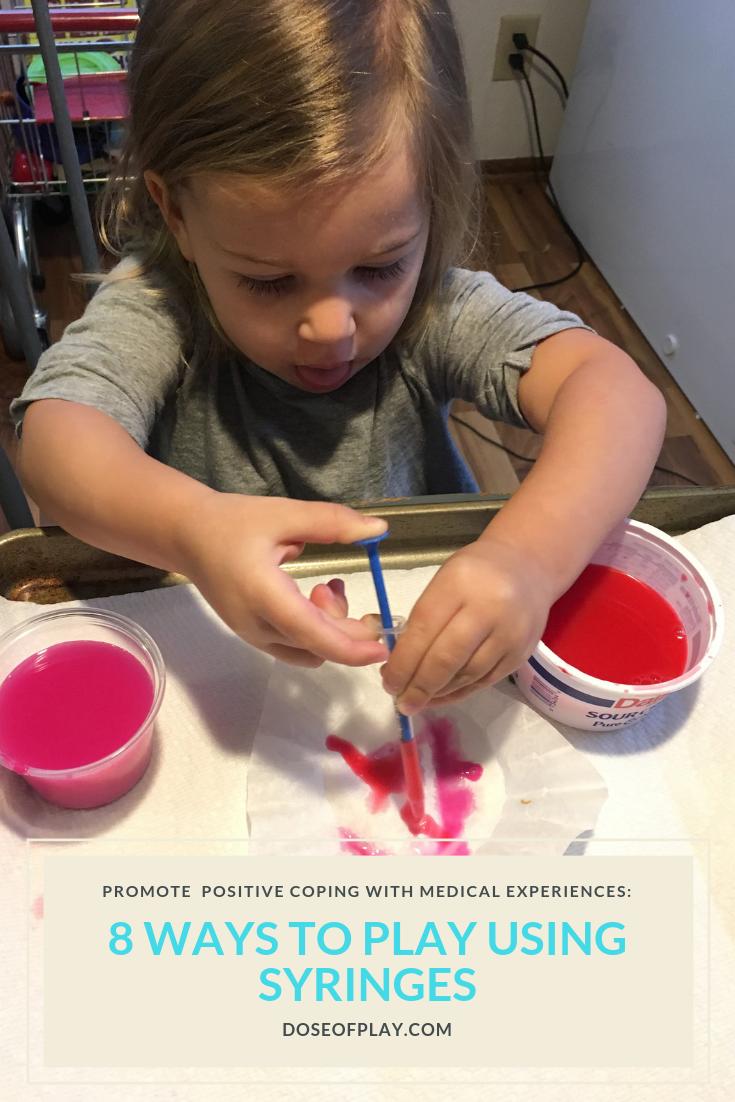 8 ways to play using syringes #doseofplay #syringe #syringepainting #syringes #medicine #medtaking #takingmedicine #parenting #parentingtips #nurse #coping #kidcoping
