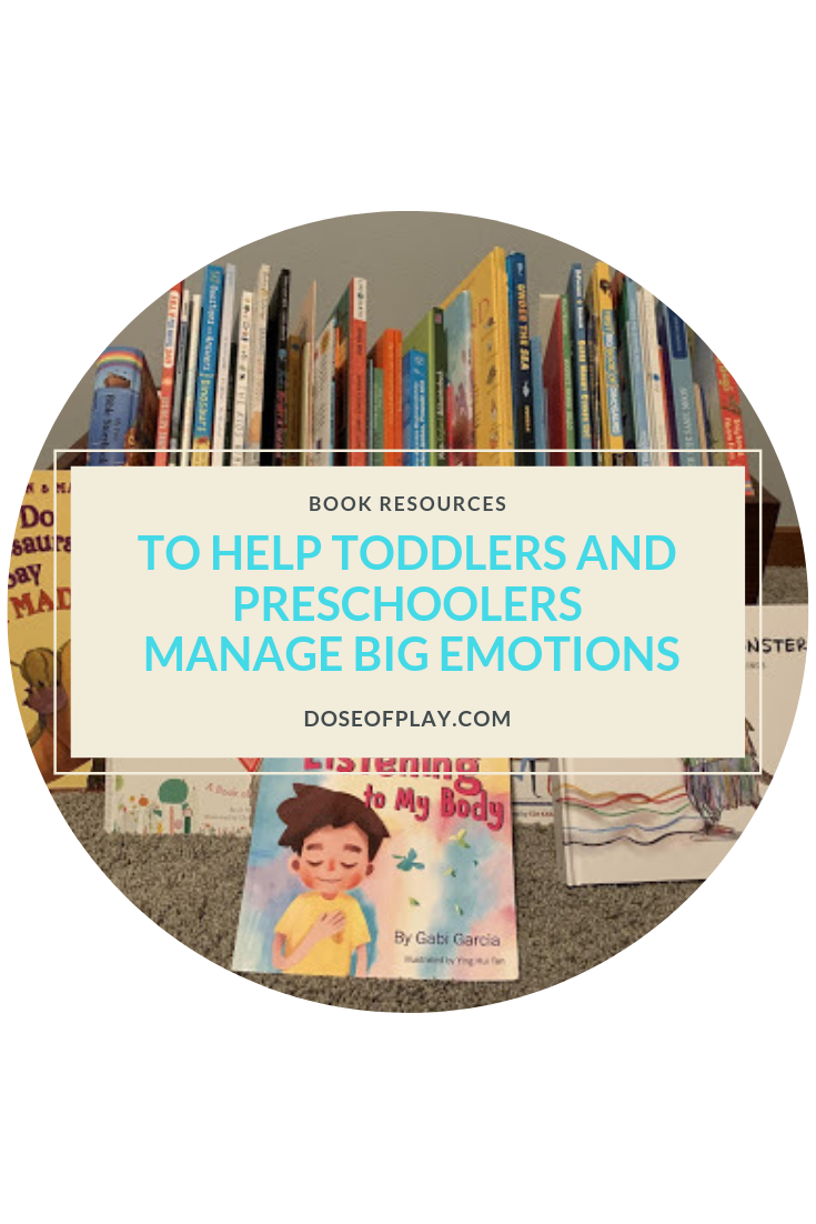 Books to hep toddlers and preschoolers manage big emotion #toddlers #preschoolers #booksfortoddlers #booksforpreschoolers #managingemotions #managingbigemotions #emotions #booksforkids #bookgifts #childlife #childdevelopment #childlifespecialist #growingup #doseofplay #copingtools #copingbooks #copingkit