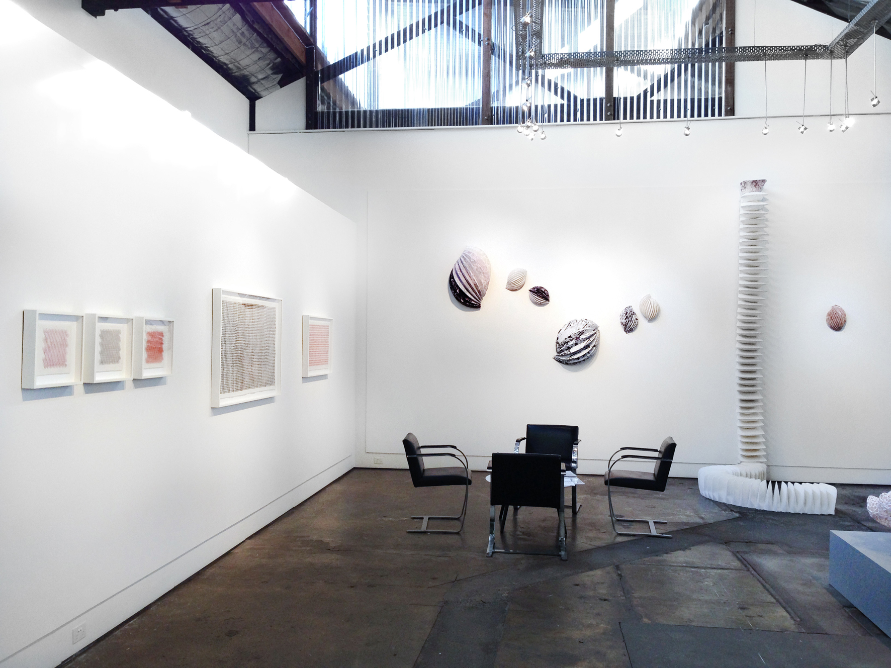 undefined objects,  2015, hand-printed linen & cotton, sewing thread, machine and hand sewn, dimensions variable, from  A Piece of String Exhibition  at Brenda May Gallery, Sydney. Photo courtesy of Brenda May Gallery.