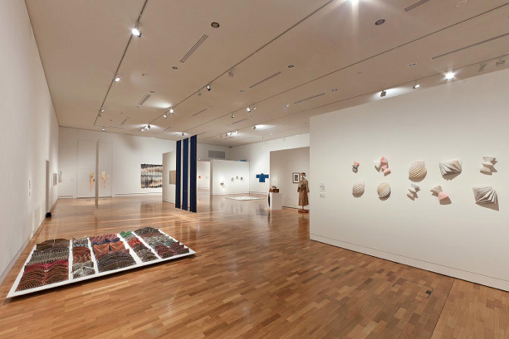 undefined objects,  2014, hand-printed linen & cotton, sewing thread, machine and hand sewn, dimensions variable, as installed in  Group Exchange: 2nd Tamworth Textile Triennial.