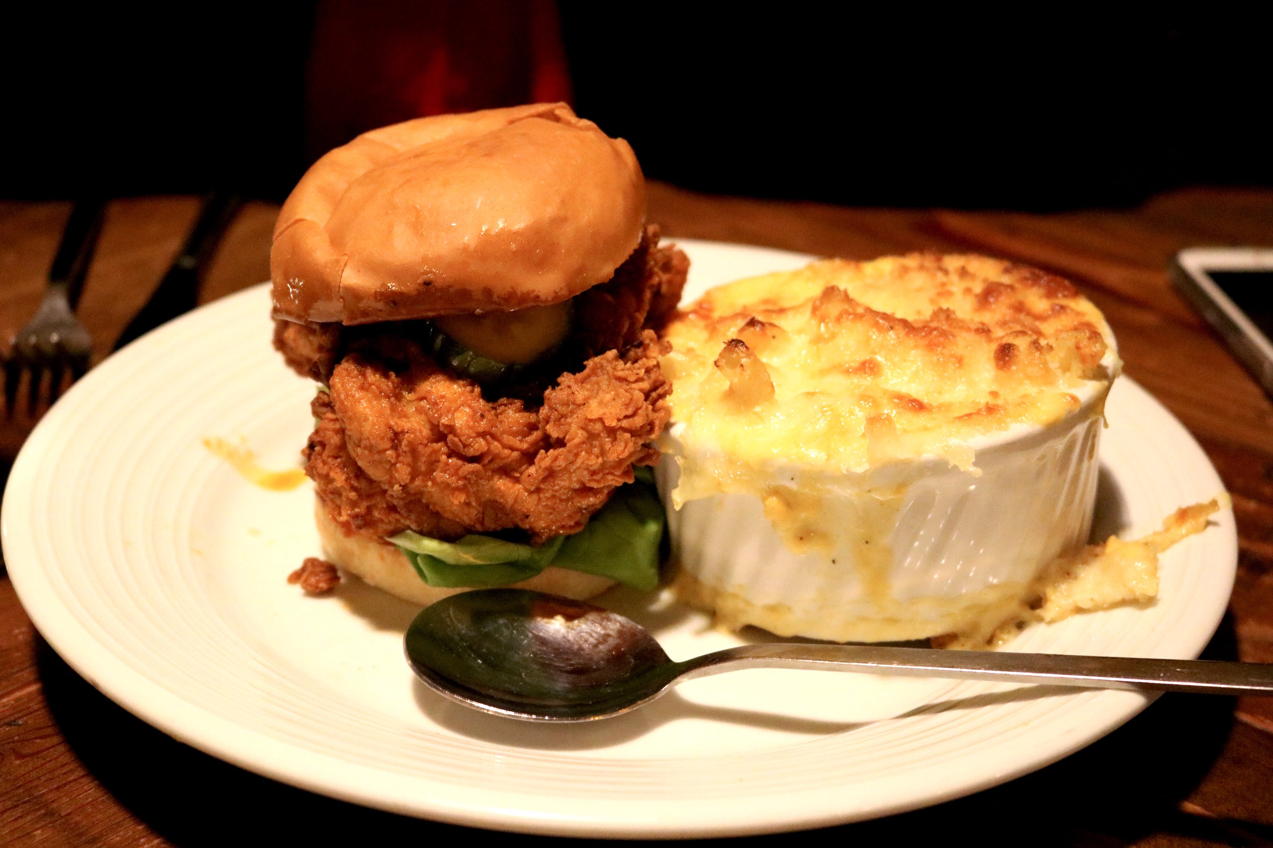 The Tennessee Hot Fried Chicken Sandwich at  Revival  in Minneapolis, MN - with Mac & Cheese of course.