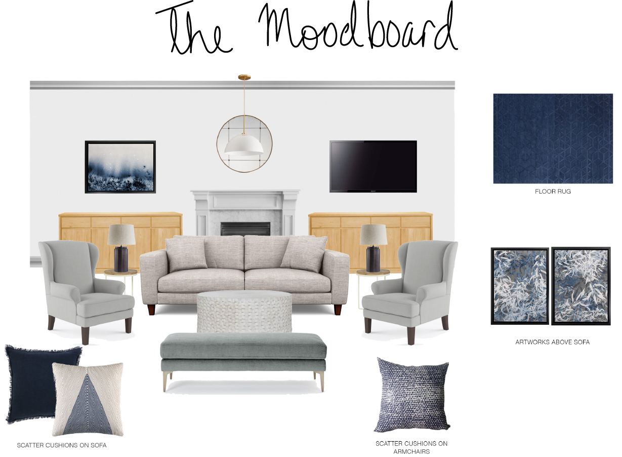 The mood board for the living room (larger) portion of the space