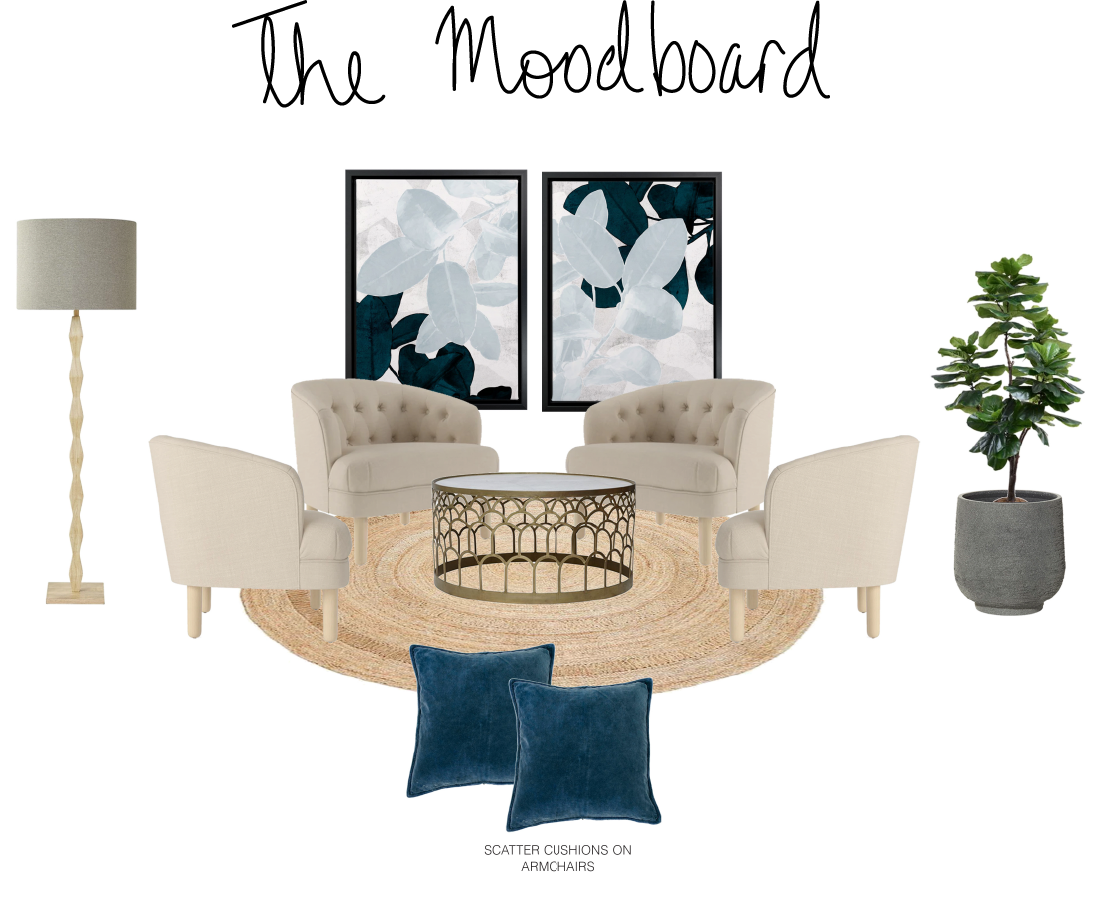 The mood board for the living room (smaller) portion of the space