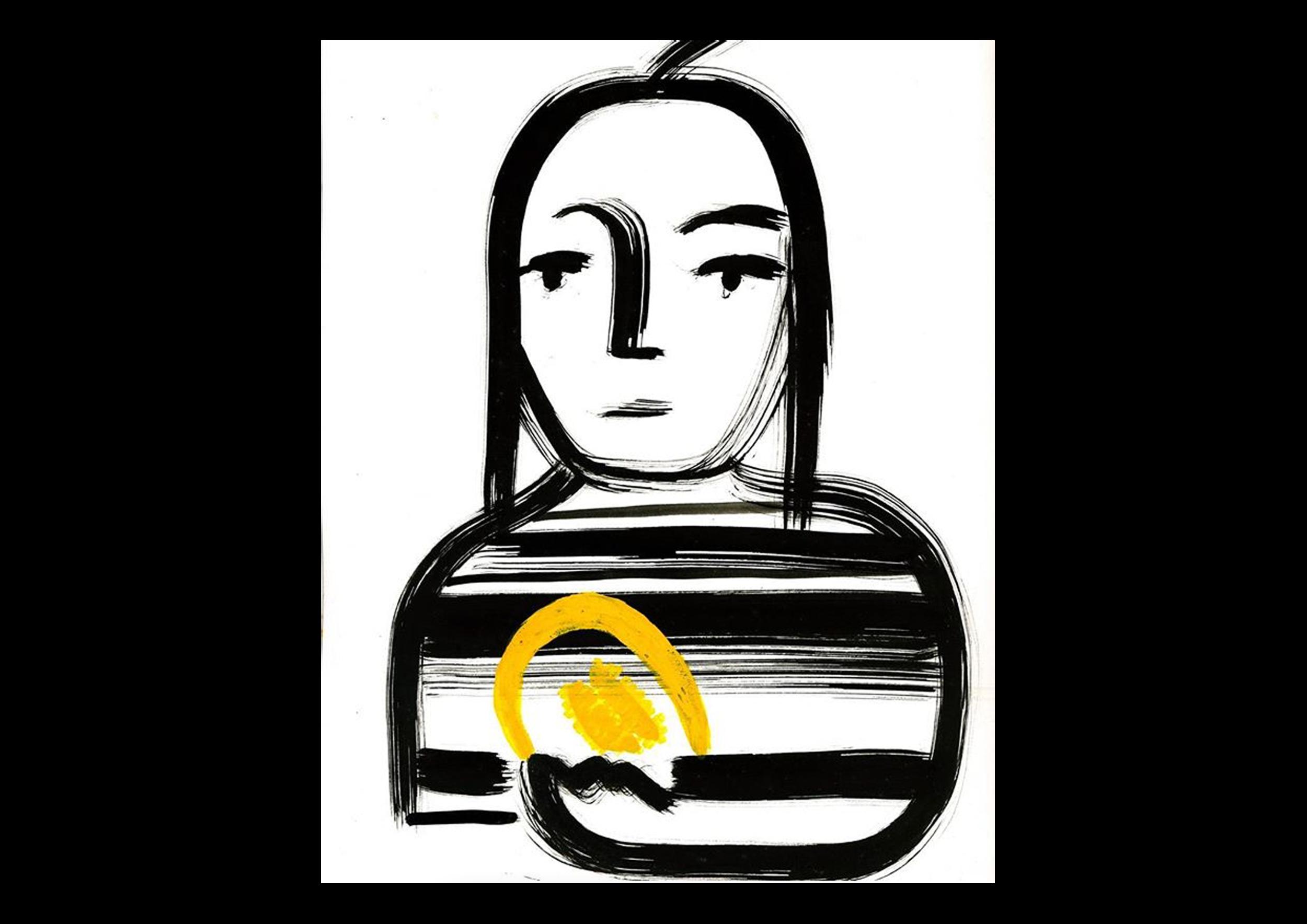 portrait illustration by julia Aumann  NO BAD THOUGHT 'MONA WITH MELON'