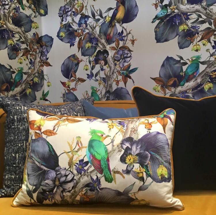 Osborne & Little wallpaper and matching cushions