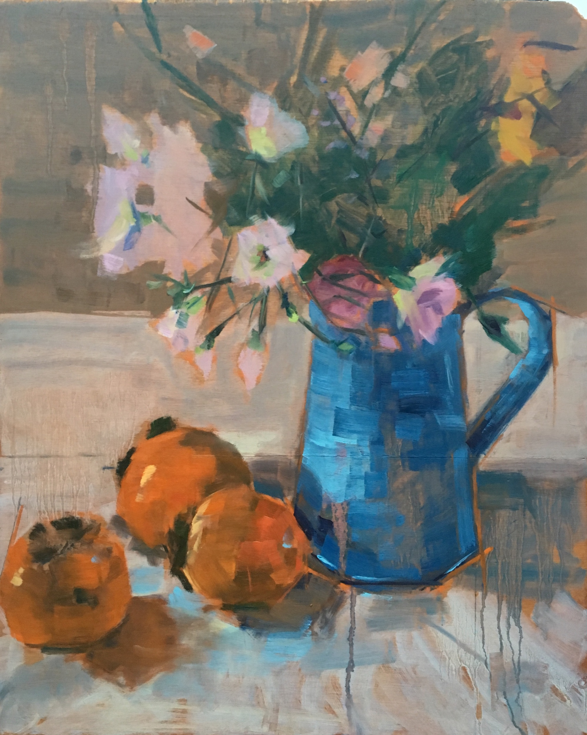 Persimmons with blue jug