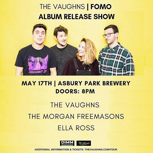"So stoked to be part of this special evening featuring our friends @thevaughnsnj on May 17th  @asburyparkbrewery 👊🏻 ・・・ 🕶🐝🎊 Thrilled to officially announce our ""FOMO"" album release show May 17th at @asburyparkbrewery with our talented friends @themorganfreemasons & @ellarross ! Come celebrate with us in style.  Grab your tickets ASAP in bio. 🎟 📸 @jennameowphy"
