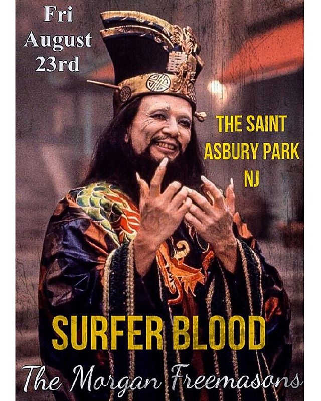 Come out to @saintapnj Fri August 23rd and rage out with us and  the mighty @surferblood !!! Doors at 730pm 👊🏻 #asburypark #ap #asbury #localmusic #themorganfreemasons #thesaintnj #surferblood