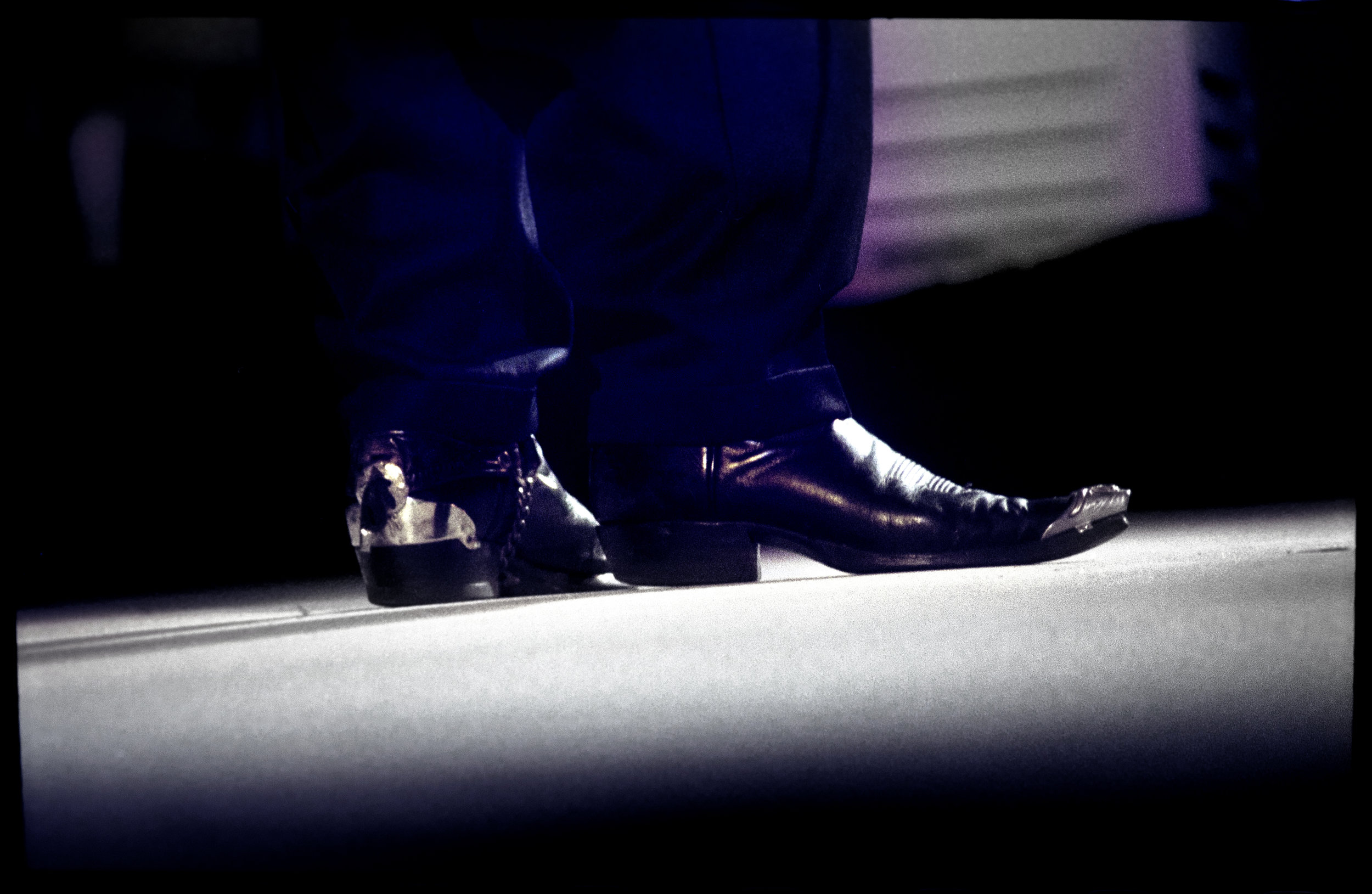 Jimmie Vaughn's boots. Mississippi Valley Blues Festival, 1999