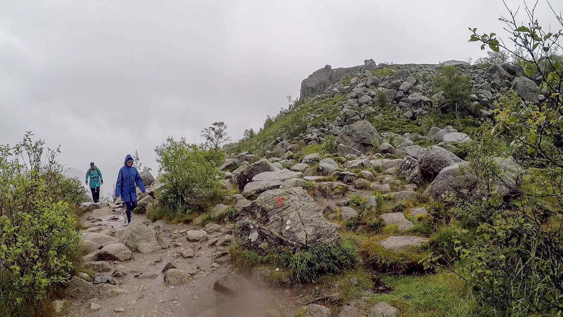 攀過最艱辛的哭坡後,已經完成了一大半的路程。這邊開始都是較平穩的山路,景色開始變得遼闊。依照大石上紅色的T字標記,約一小時便抵達聖壇岩。