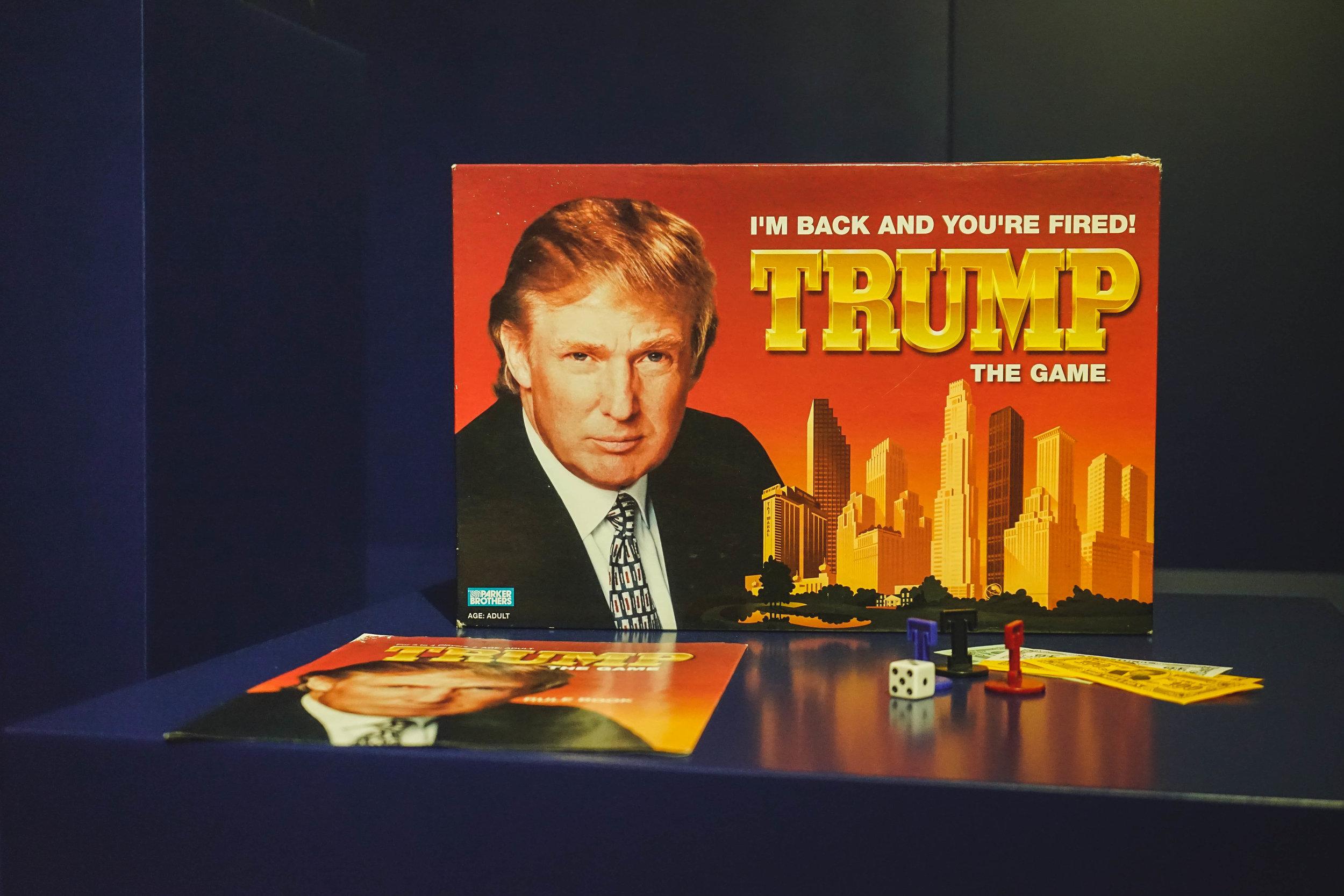 美國總統侵侵也憑藉以他為設計主軸的大富翁打入博物館,「You Are Fired!」