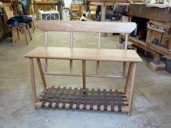 Oak Boot Bench w Leather rack