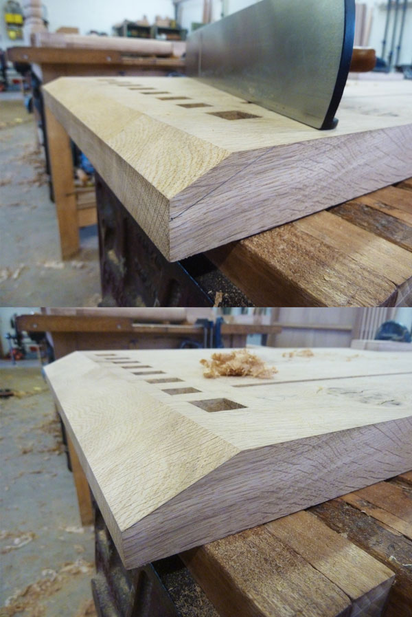 Hand planing the chamfer to top underside