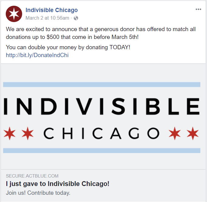 Indivisible Chicago Sample Fundraising Tweet