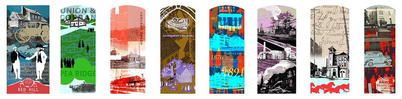 Momentous: A Timeline of History Shaping Sites of Concord,  2013, 4' x 8' each