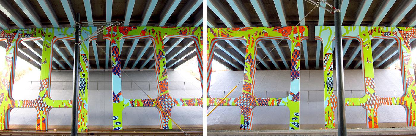 Halcyon Idyll II , 2016, CATS Transit I-277 underpass murals, Lynx Blue Line light rail, enamel on concrete