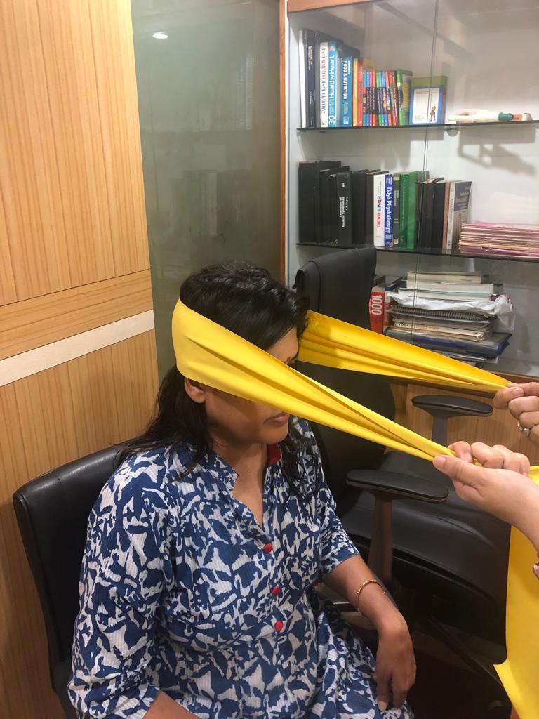Neck strengthening with theraband for cervical spondylitis