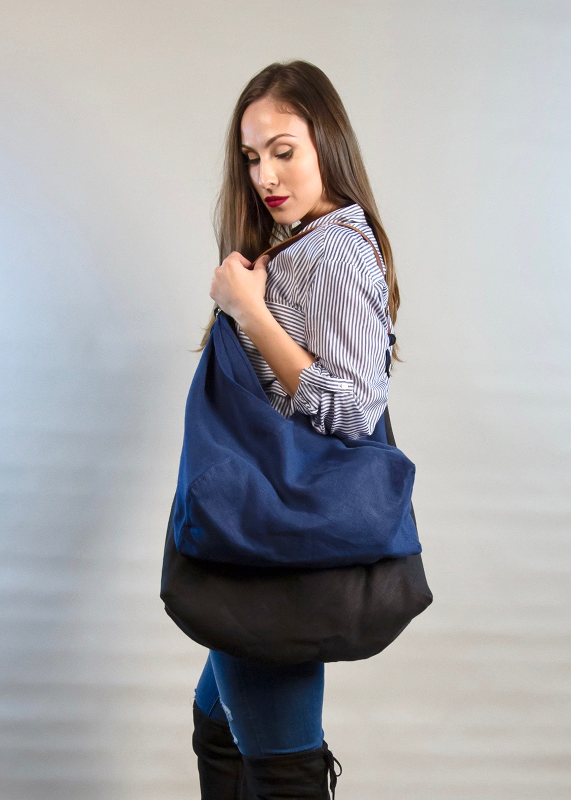 - LARGE BAG IN BLACK + MEDIUM BAG IN INDIGO W/ ORIGINAL HANDLE IN BROWN