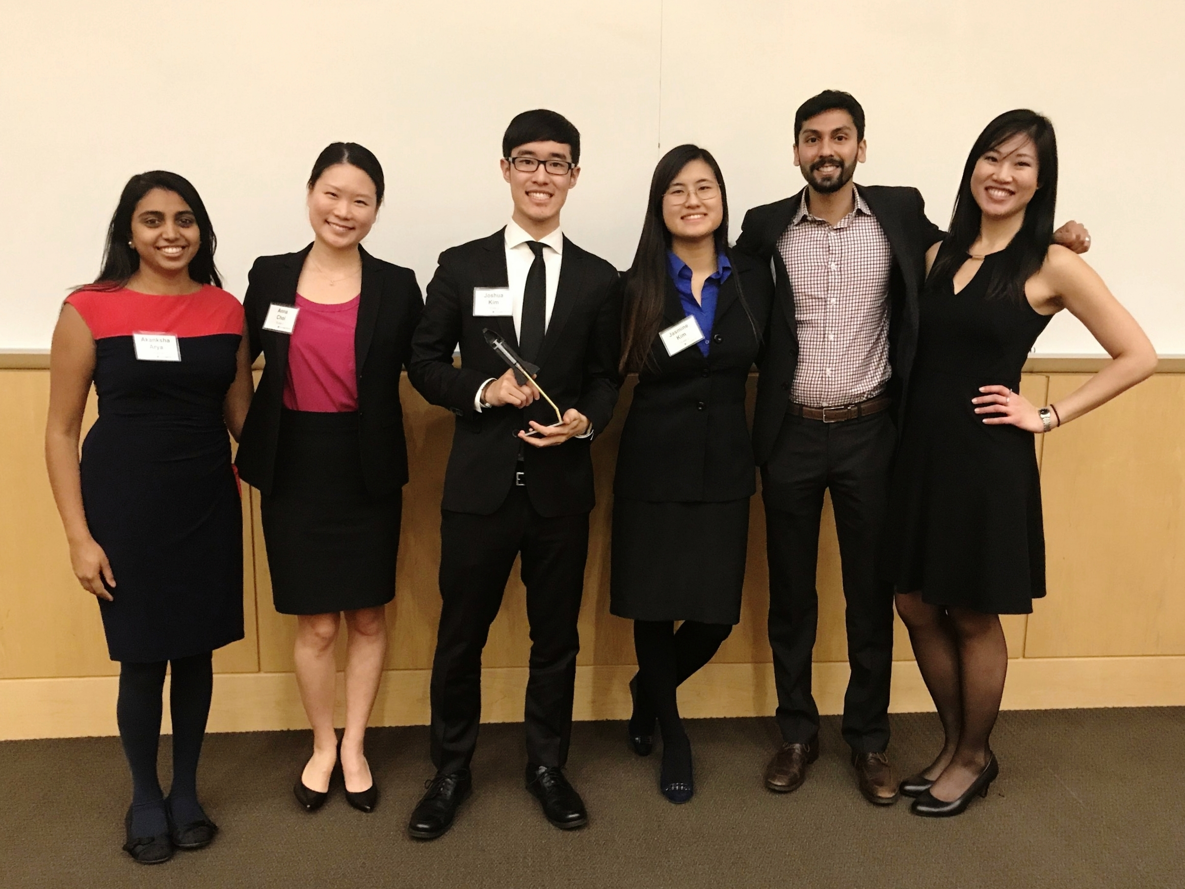 Team Tajjan, Creators of Jetter  Left to right:  Akanksha Arya  (NU Business),  Anna Choi  (NU Law),  Joshua Kim  (NU Engineering),  Jasmine Kim  (NU Engineering),  Nish Rastogi  (NU Business),  Tiffany Wen  (NU Medicine)