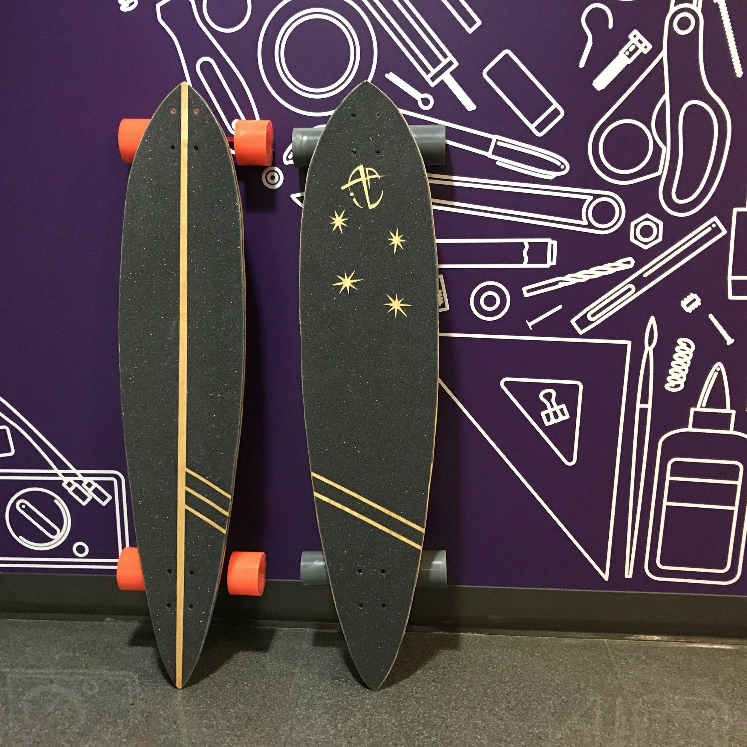 A custom grip tape pattern was hand cut for each board.