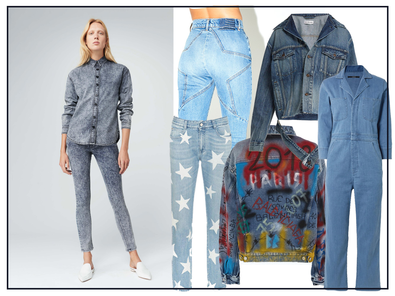 A variety of denim: Victoria Beckham, Revice Venus Crops, Balenciaga jackets, J Brand jumpsuit and Stella McCartney star jeans.