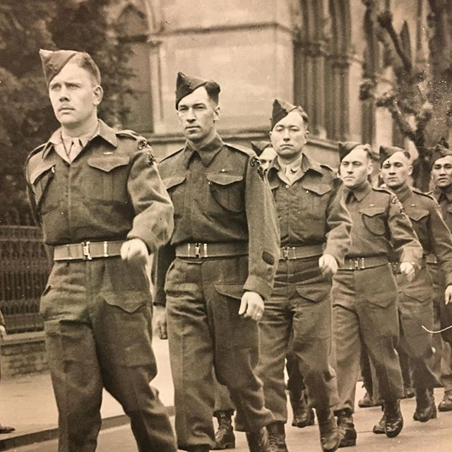 April 1944 - The Royal Winnipeg Rifles Regimental Anniversary parade in Winchester, England. #royalwinnipegrifles #winnipeghistory #manitobahistory #canadianhistory #canadianmilitaryhistory #winchester
