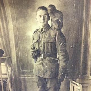 Wickey and Private John Upritchard of the 8th Battalion.  #royalwinnipegrifles #winnipeghistory #manitobahistory #canadianhistory #canadianmilitaryhistory #ww1 #worldwar1 #firstworldwar #greatwar #wartoendallwars #mascots #mascot #monkey #monkeypower #simiansoldiers