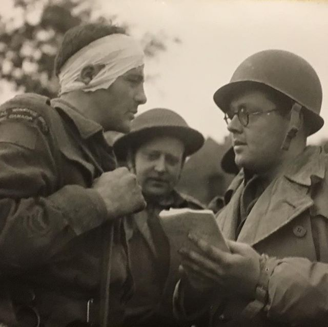 "Check out our new guide on how to research a soldier (www.rwrmuseum.com under ""new tool"" - you can't miss it). The guide is comprehensive and has links to our most commonly used research databases. Photo: official Canadian War Photograph of wounded Rfn. Al Jesson with a Canadian war correspondent taking notes following the battle at Carpiquet (1944). #royalwinnipegrifles #winnipeghistory #manitobahistory #canadianhistory #canadianmilitaryhistory #ww2 #worldwar2 #secondworldwar #research #genealogy"